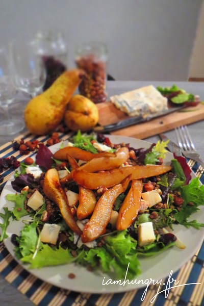 Salade de lentilles aux poires gorgonzola et noisettes