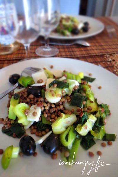 Salade de lentilles aux poireaux et parmesan