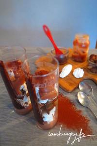 Verrine chocolat merringue marorn