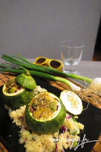 Courgettes rondes farcies boulgour