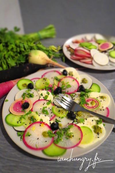 Salade de radis à la mozzarela et au pesto