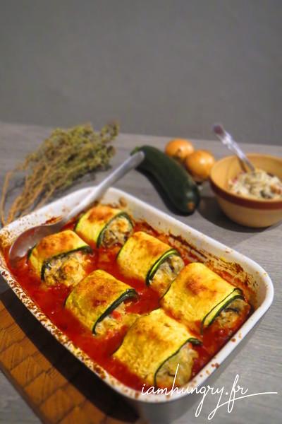 Rouleaux de courgettes farcis aux petits légumes