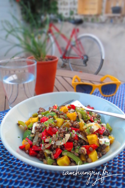 Lentils salad with grilled redpeppers
