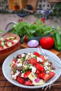 Salade greque lentilles