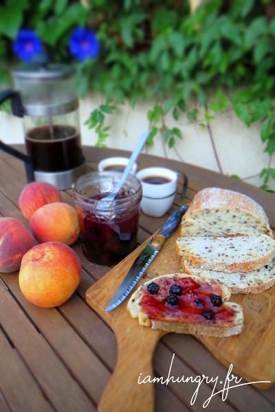 Peaches and blackberries jam