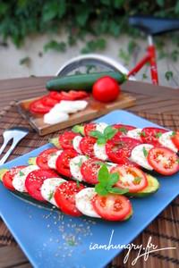 Tomates mozzarella sur courgette