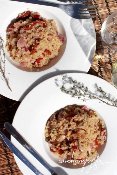 Quinoazzoto aux oignons rouges et tomates séchées