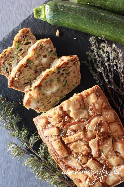 Cake à la courgette, féta et romarin