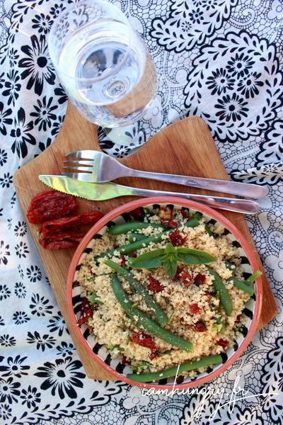 Taboulé de tomates séchées et haricots verts