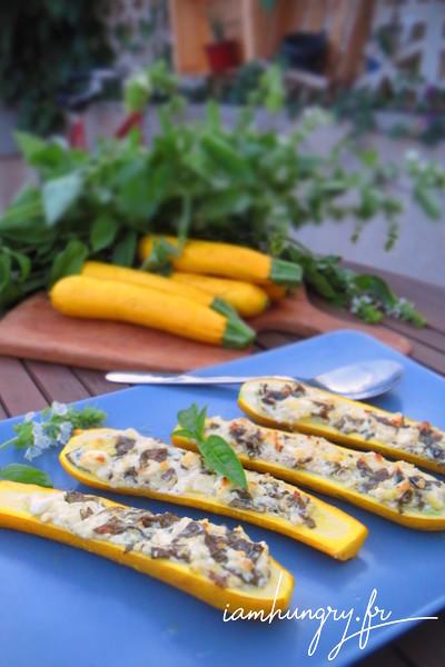 Courgettes jaunes farcies à la féta