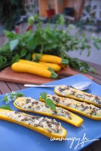 Courgette jaune farcies che%cc%80vre basilic