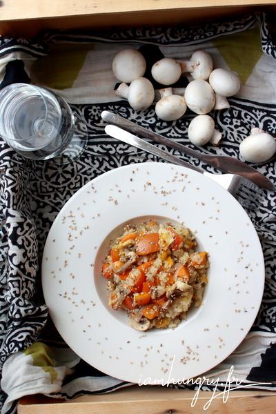 Risotto potimarron et champignons