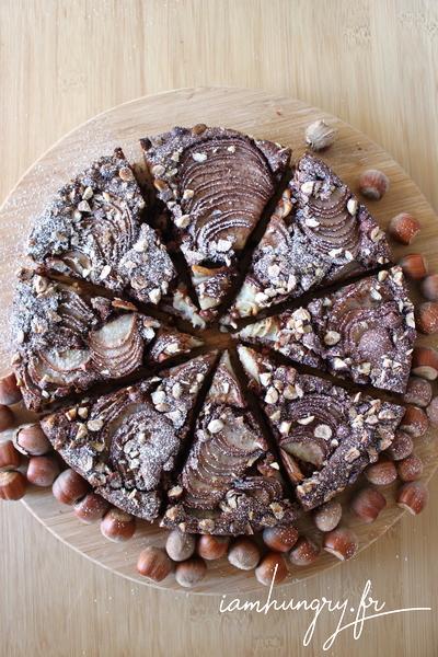 Gâteau au chocolat amandes et poires