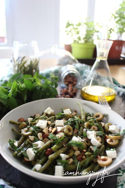 Salade de haricots verts menthe et noisette