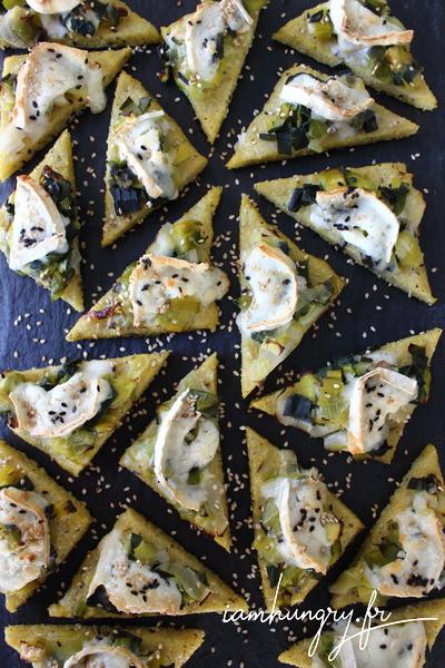 Triangles de polenta aux poireaux