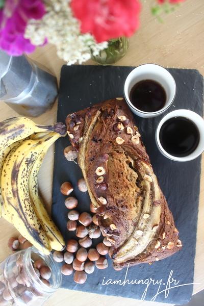 Banana bread chocolat et noisettes