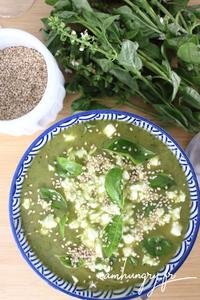 Soupe froide courgette poivron basilic rect