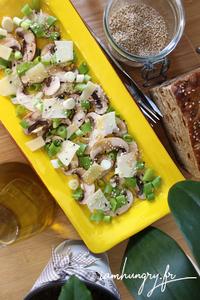 Salade champignons oignons frais parmesan rect