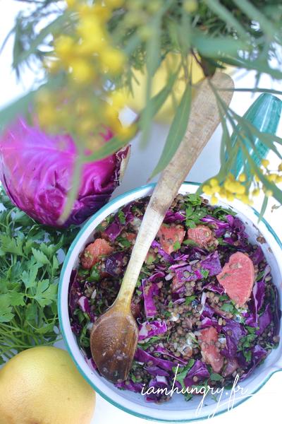 Salade de pamplemousse et choux rouge aux lentilles