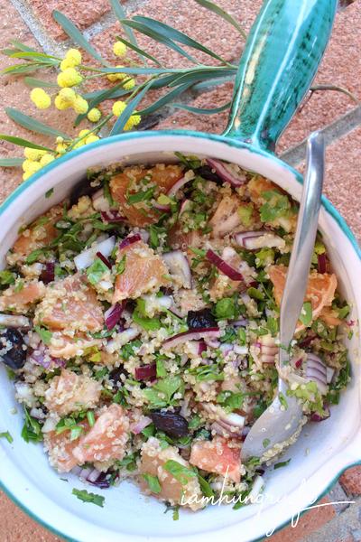 Salade de pamplemousse et oignons rouges