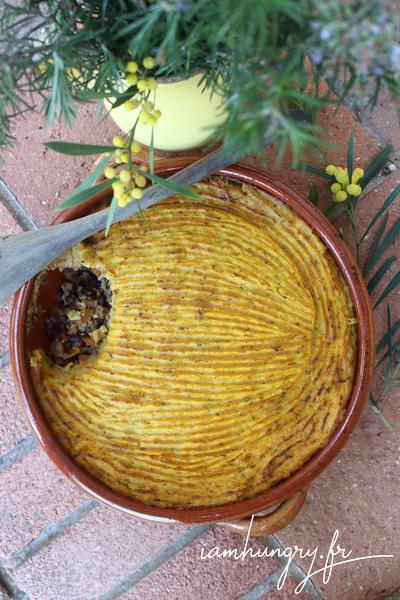 Hachis parmentier courge-patate aux haricots rouges