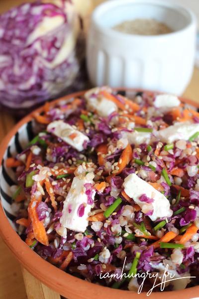 Salade de chou rouge au sarrasin et à la féta