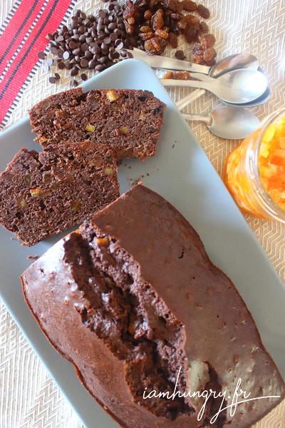 Cake au cacao écorces d'orange et raisins secs
