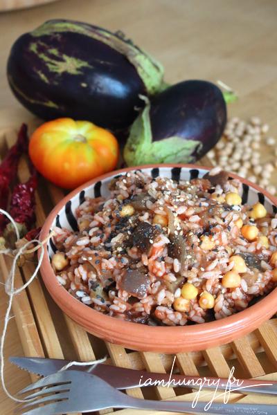 Poêlée de riz aux aubergines et pois chiches