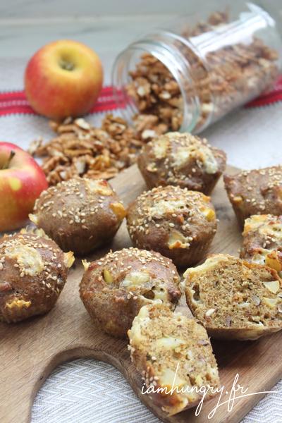 Muffins aux pommes noix et roquefort